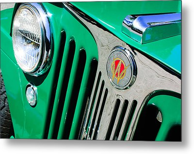 1949 Willys Jeep Station Wagon Grille Emblem Metal Print by Jill Reger