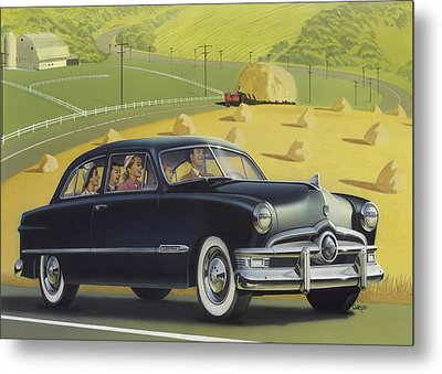 1950 Custom Ford Blank Greeting Card Metal Print