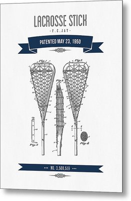 1950 Lacrosse Stick Patent Drawing - Retro Navy Blue Metal Print by Aged Pixel