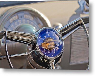 1950 Oldsmobile Rocket 88 Steering Wheel Metal Print by Jill Reger