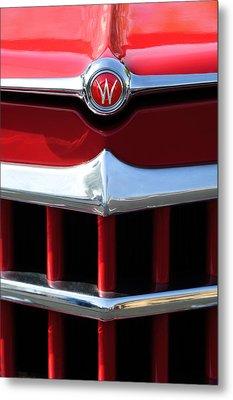 1950 Willys Overland Jeepster Hood Emblem Metal Print by Jill Reger