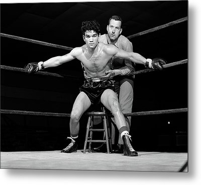 1950s Boxer In Ring With Coach Trainer Metal Print