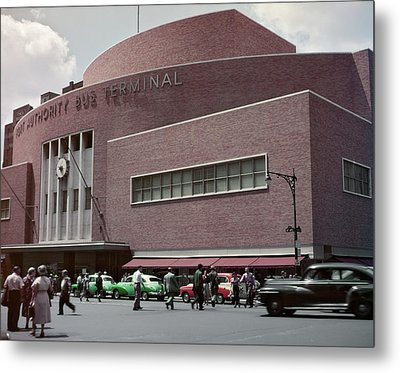 1950s Busy Street Level View Of New Metal Print