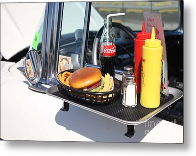 1950's Drive In Movie Snack Tray Metal Print by John Telfer