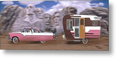 1950s Family Vacation Panoramic Metal Print by Mike McGlothlen