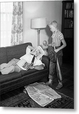 1950s Father Lying On A Sofa Metal Print