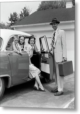 1950s Man Father Holding Suitcase Metal Print