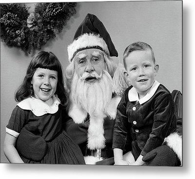 1950s Man Santa Claus Posing With Young Metal Print
