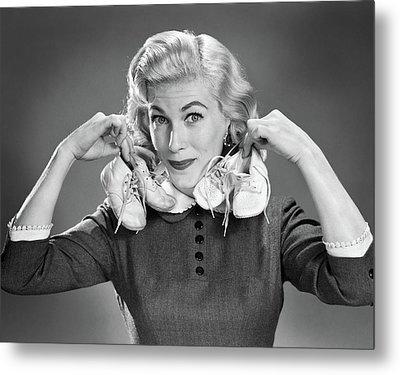 1950s Portrait Blond Woman Holding Metal Print