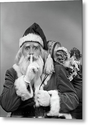 1950s Santa Claus With A Bag Of Toys Metal Print