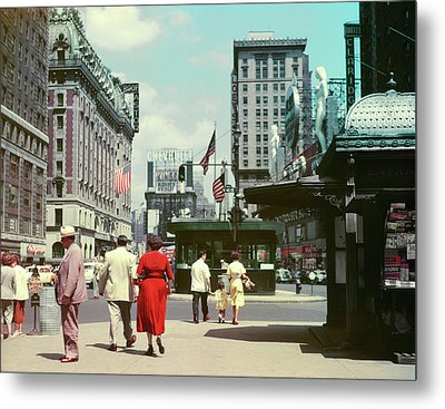 1950s Street Level View Of Times Square Metal Print