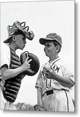 1950s Two Boys Wearing Little League Metal Print