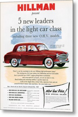 1950s Uk Hillman Magazine Advert Metal Print by The Advertising Archives