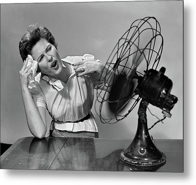 1950s Very Hot Woman Wiping Forehead Metal Print