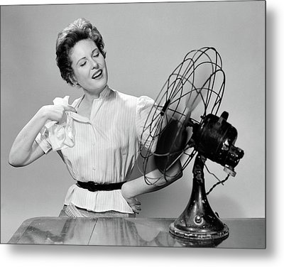 1950s Woman Cooling With Swivel Fan Metal Print
