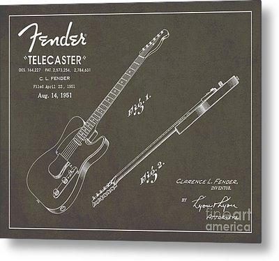 1951 Fender Telecaster Guitar Patent Art In White Chalk On Gray  Metal Print