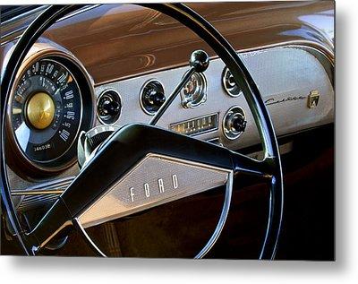 1951 Ford Crestliner Steering Wheel Metal Print by Jill Reger