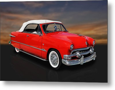 1951 Ford Custom V8 Convertible Metal Print by Frank J Benz