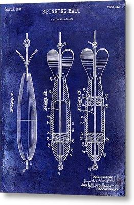 1951 Spinning Bait Patent Drawing Blue Metal Print