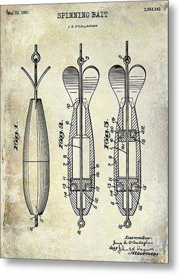 1951 Spinning Bait Patent Drawing Metal Print