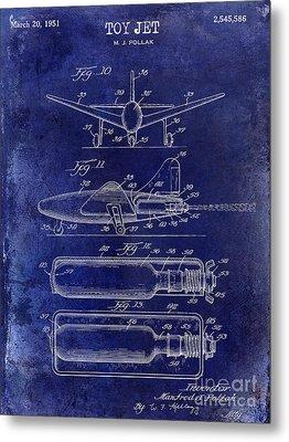 1951 Toy Jet Patent Drawing Blue Metal Print by Jon Neidert