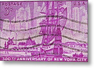 1953 300th Anniversary Of New York City Stamp Metal Print by Bill Owen