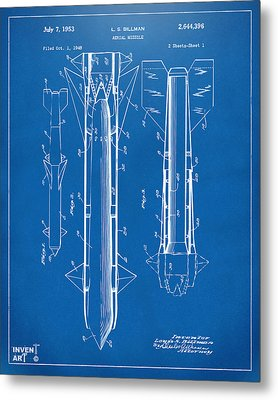 1953 Aerial Missile Patent Blueprint Metal Print by Nikki Marie Smith