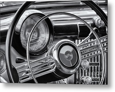 1953 Buick Super Dashboard And Steering Wheel Bw Metal Print