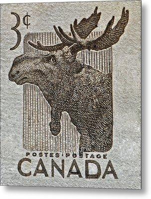1953 Canada Moose Stamp Metal Print