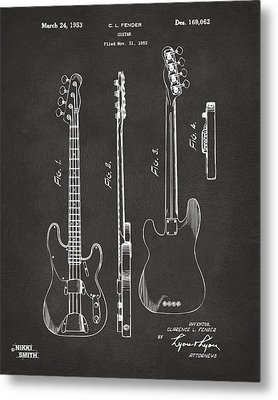 1953 Fender Bass Guitar Patent Artwork - Gray Metal Print by Nikki Marie Smith