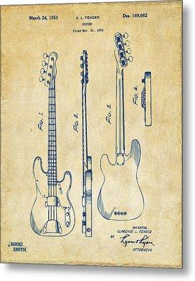 1953 Fender Bass Guitar Patent Artwork - Vintage Metal Print