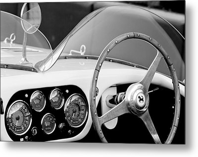1953 Ferrari 340 Mm Lemans Spyder Steering Wheel Emblem Metal Print by Jill Reger
