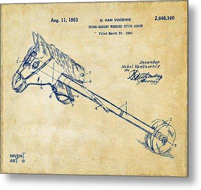 1953 Horse Toy Patent Artwork Vintage Metal Print by Nikki Marie Smith