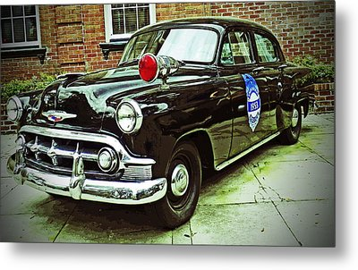 1953 Police Car Metal Print by Patricia Greer