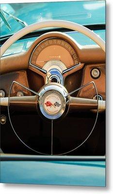 1954 Chevrolet Corvette Convertible  Steering Wheel Metal Print by Jill Reger
