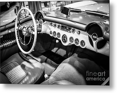 1954 Chevrolet Corvette Interior Black And White Picture Metal Print by Paul Velgos