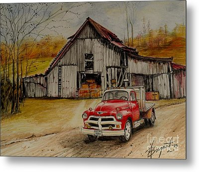 1954 Chevy Truck And Barn Metal Print by Jackie Bryant