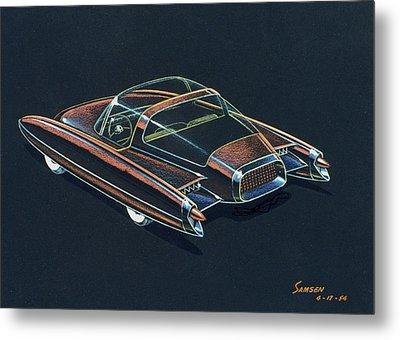 1954  Ford Cougar Experimental Car Concept Design Concept Sketch Metal Print by John Samsen