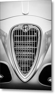 1955 Alfa Romeo 1900 Css Ghia Aigle Cabriolet Grille Emblem -0564bw Metal Print by Jill Reger