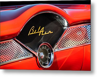 1955 Chevrolet Belair Dashboard Emblem Clock Metal Print