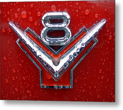 1955 Ford V8 Emblem Metal Print