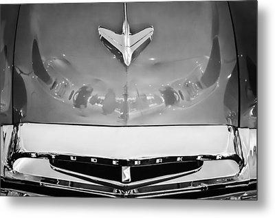 1955 Studebaker Champion Conestoga Custom Wagon Hood Ornament - Grille Emblem -0325bw Metal Print