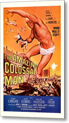 1955 The Amazing Colossal Man Vintage Movie Art Metal Print
