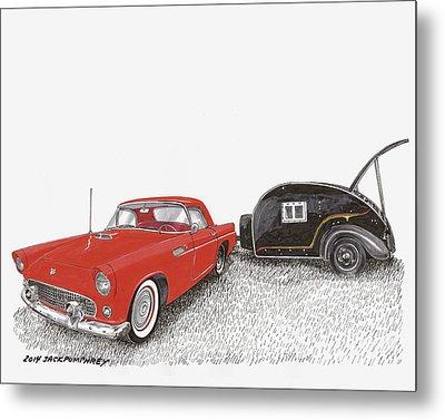 1955 Thunderbird And Kit Teardrop Metal Print by Jack Pumphrey