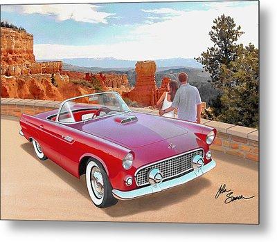 1955 Thunderbird At  Bryce Canyon  Classic Ford Art Sketch Rendering Art Sketch Rendering            Metal Print by John Samsen