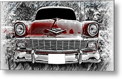 Classic Car Metal Print featuring the photograph 1956 Chevy Bel Air by Aaron Berg