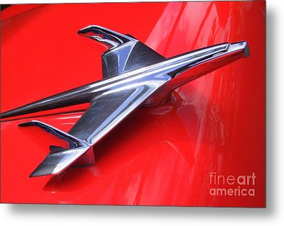 1956 Chevy Hood Ornament Metal Print by Mary Deal