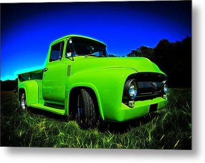 1956 Ford F-100 Pickup Truck Metal Print by motography aka Phil Clark