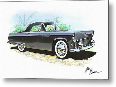 1956 Ford Thunderbird  Black  Classic Vintage Sports Car Art Sketch Rendering         Metal Print by John Samsen