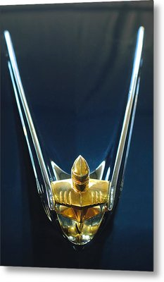 1956 Lincoln Premiere Convertible Hood Ornament Metal Print by Jill Reger